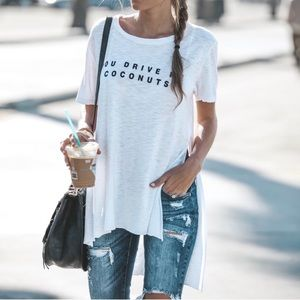 Vici High Low Side Slit Graphic Tee Small